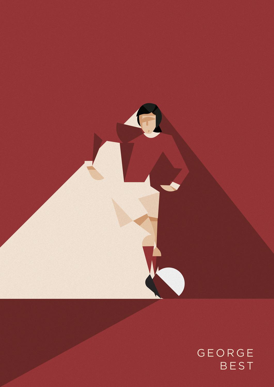 George Best punta dritto vero la porta, vestito di rosso come il suo United.