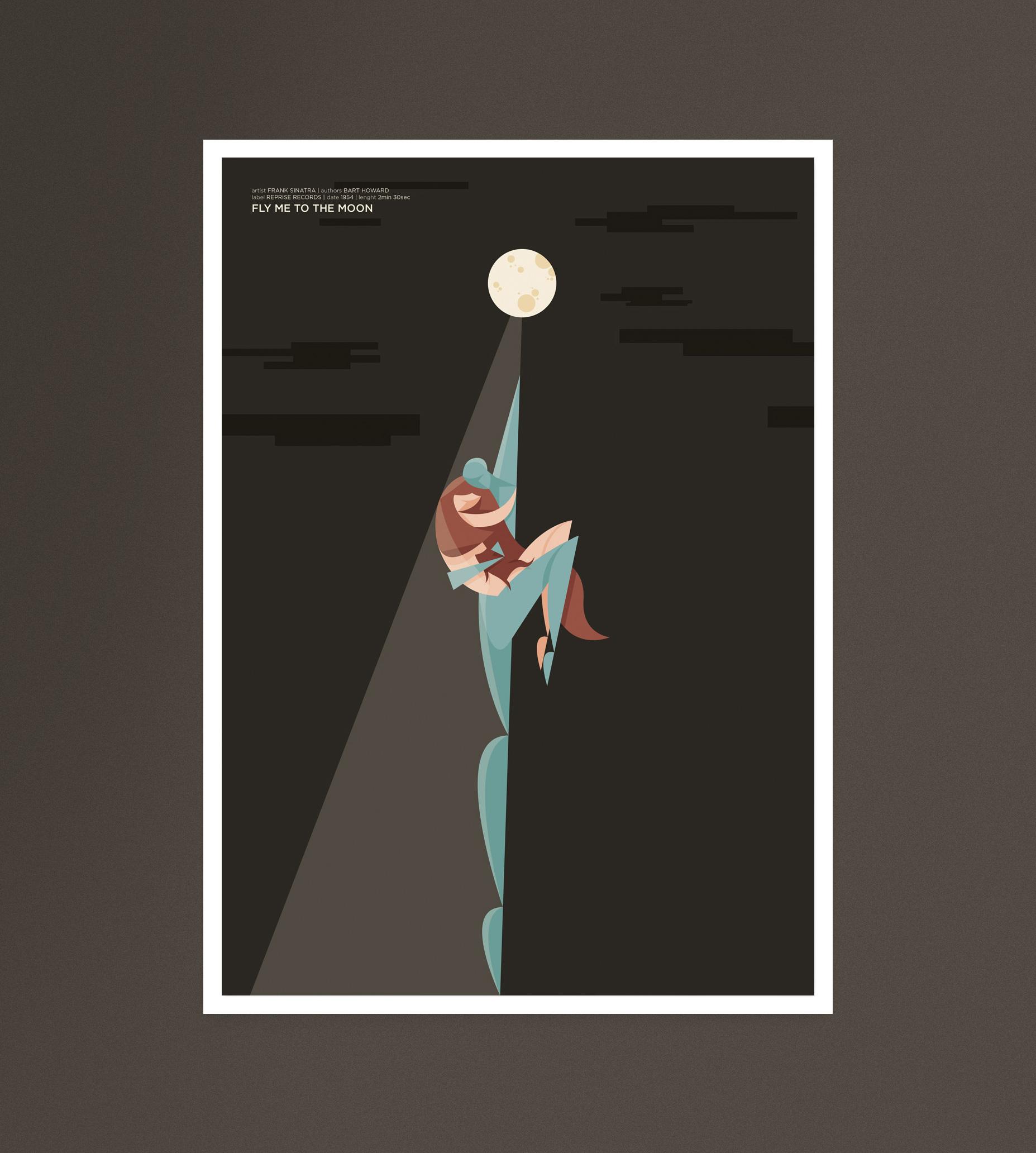 Fly me to the Moon, un uomo a forma di sogno trasporta una donna verso la luna in una notte scura.
