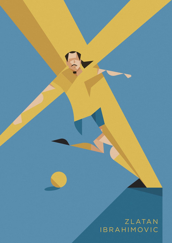 Zlatan Ibrahimovic, esulta alla sua maniera, allargando le braccia a sfidare la folla. Sullo sfondo una croce gialla campeggia su uno sfondo azzurro.