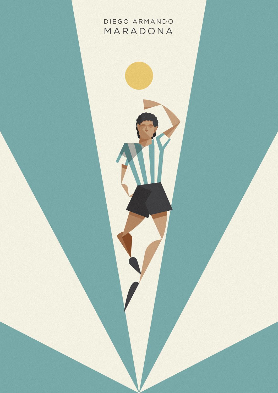 Diego Armando Maradona vola in cielo, sorvolato da una sfera di luce mentre la colpisce di mano con la sua casacca albiceleste, in memoria del gol che consacrò l'Argentina campione del Mondo.