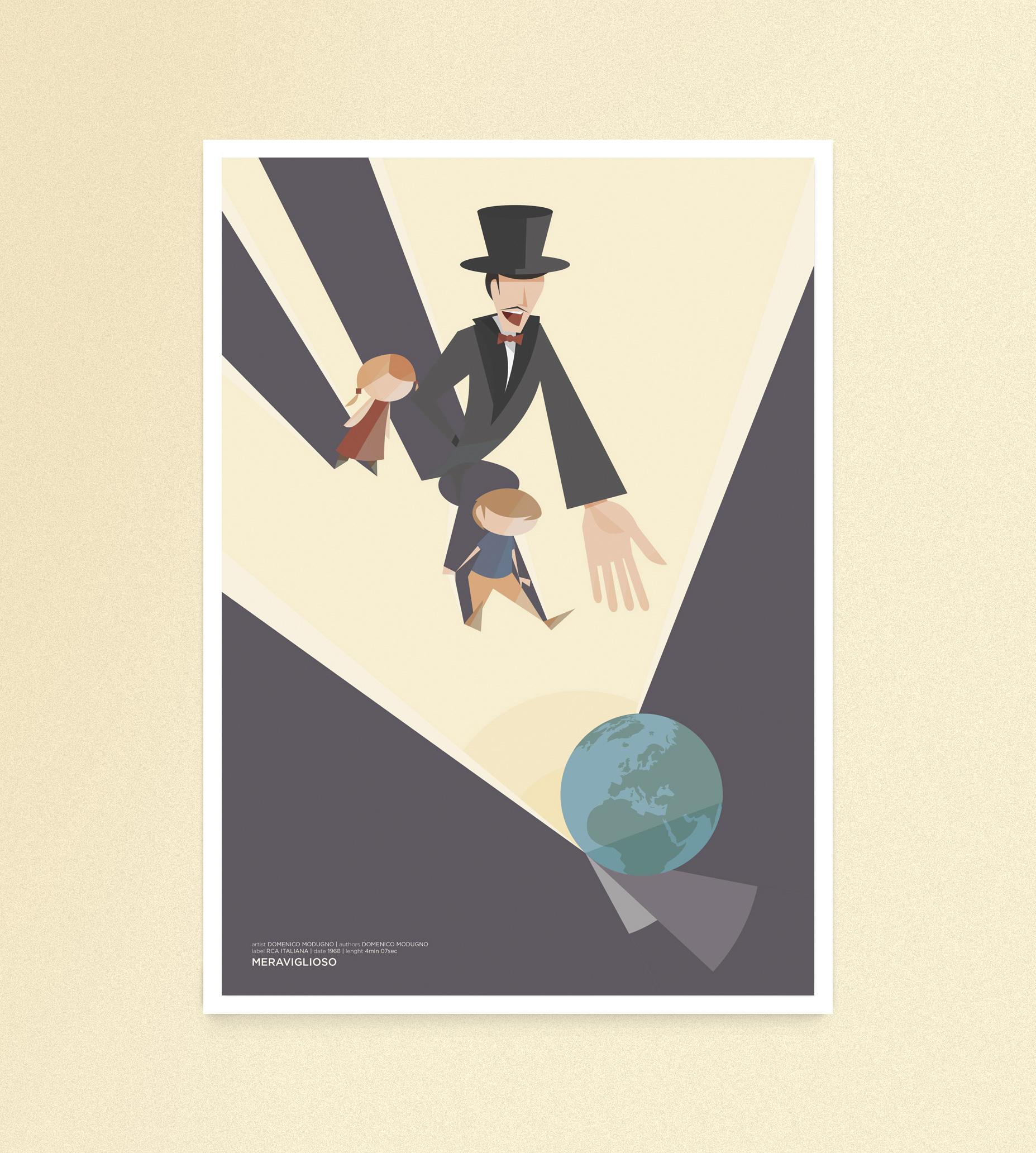 Meraviglioso, un prestigiatore mostra a due bambini un mappamondo luminoso