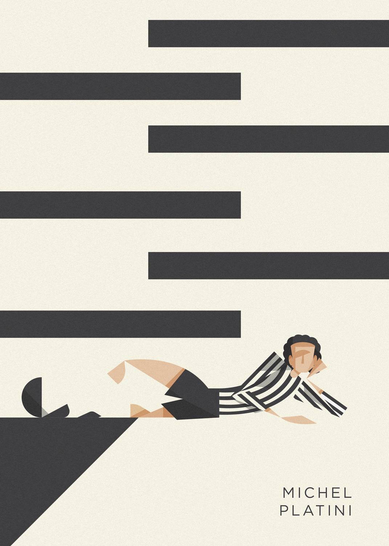 Michel Platini sdraiato per terra, a sfidare l'arbitro dopo un gol spettacolare annullato. Il tuo in bianco-nero.