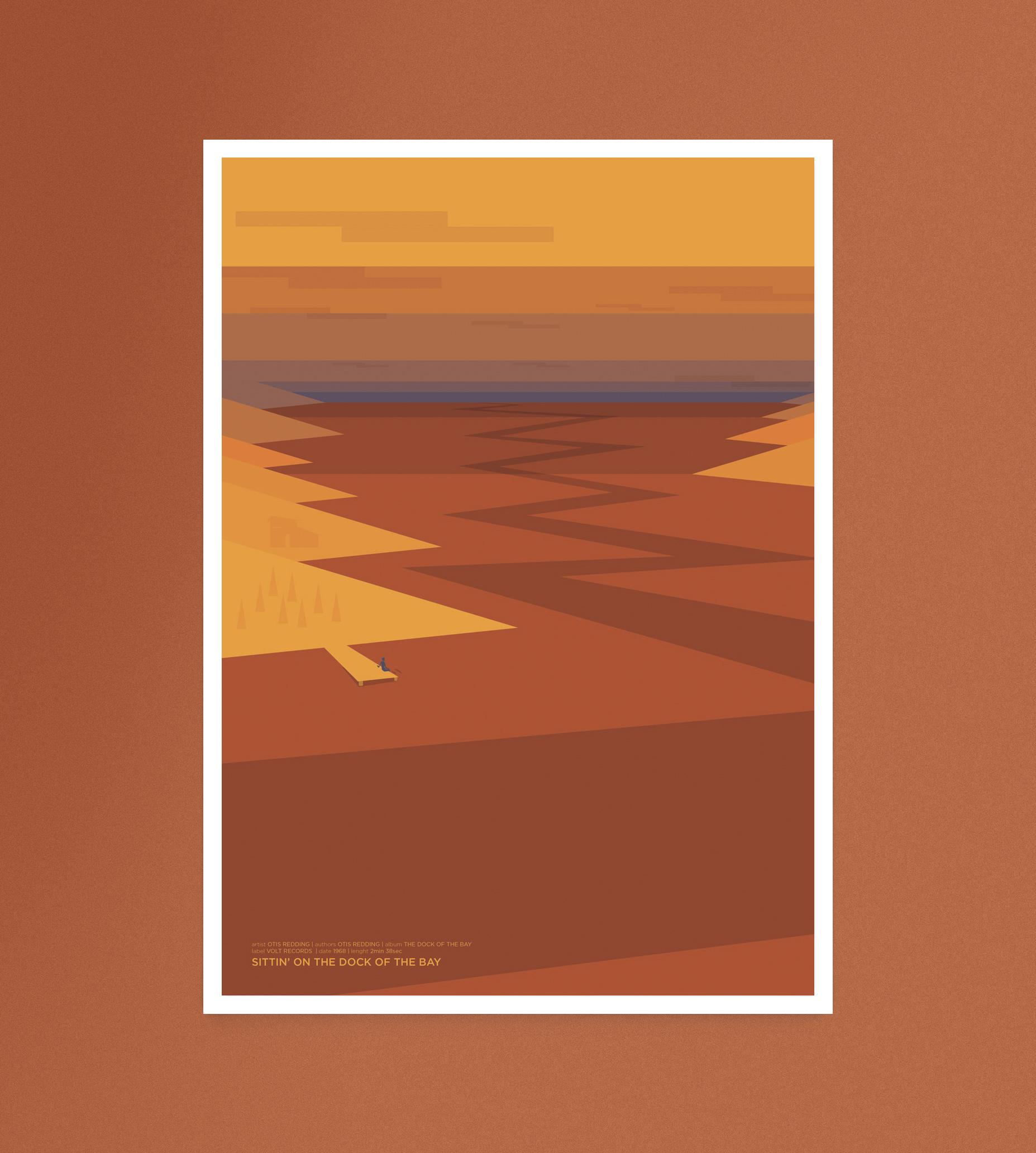 Sittin on the dock of the bay, un panorama al tramonto, un fiume che attraversa placido un valle piena di anse e colline ed un uomo sul molo