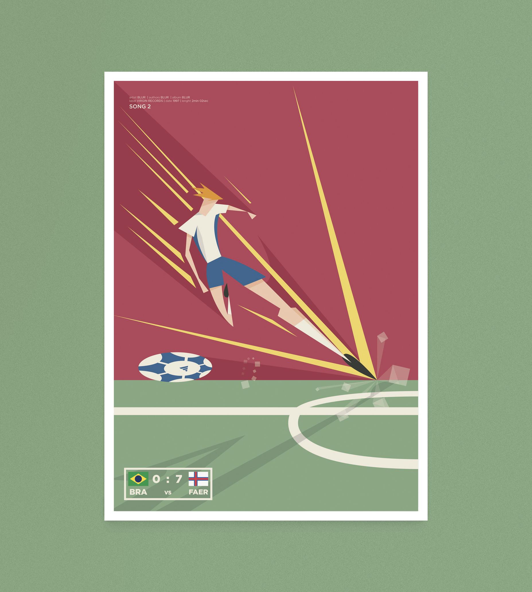 Song Two, un calciatore delle isole Faer Oer si avvia a calciare il pallone per segnare l'ennesimo gol al Brasile
