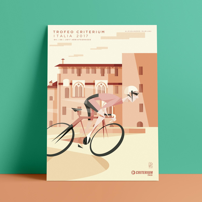 Abbiategrasso, il poster. Alessandro Mariani sui pedali con il collo e il volto protesi in avanti mentre il massiccio rosa del castello si mostra imponente dietro di lui.