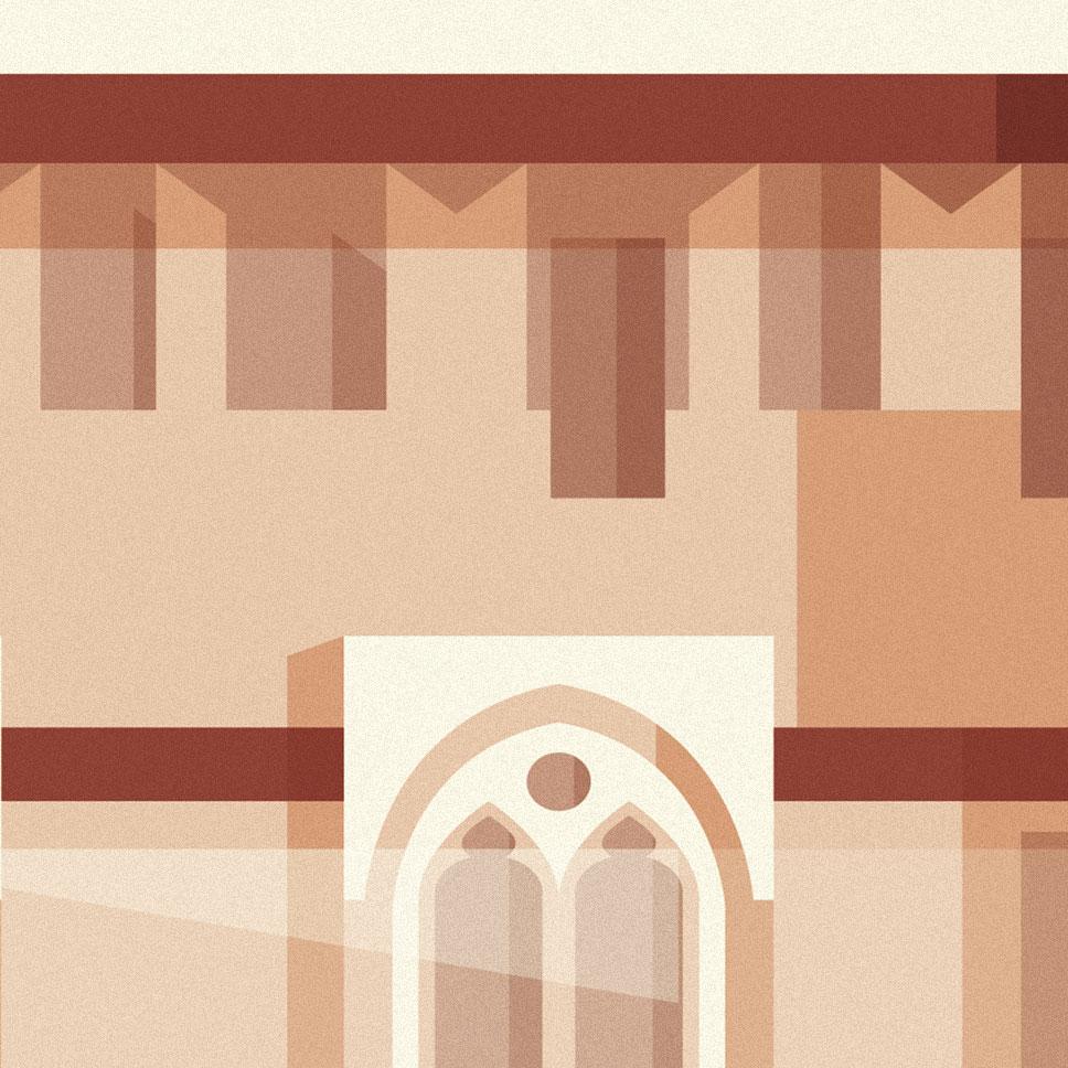 Abbiategrasso, particolare del castello in tinte rosa e panna, forme geometriche a formare merli e tettoie