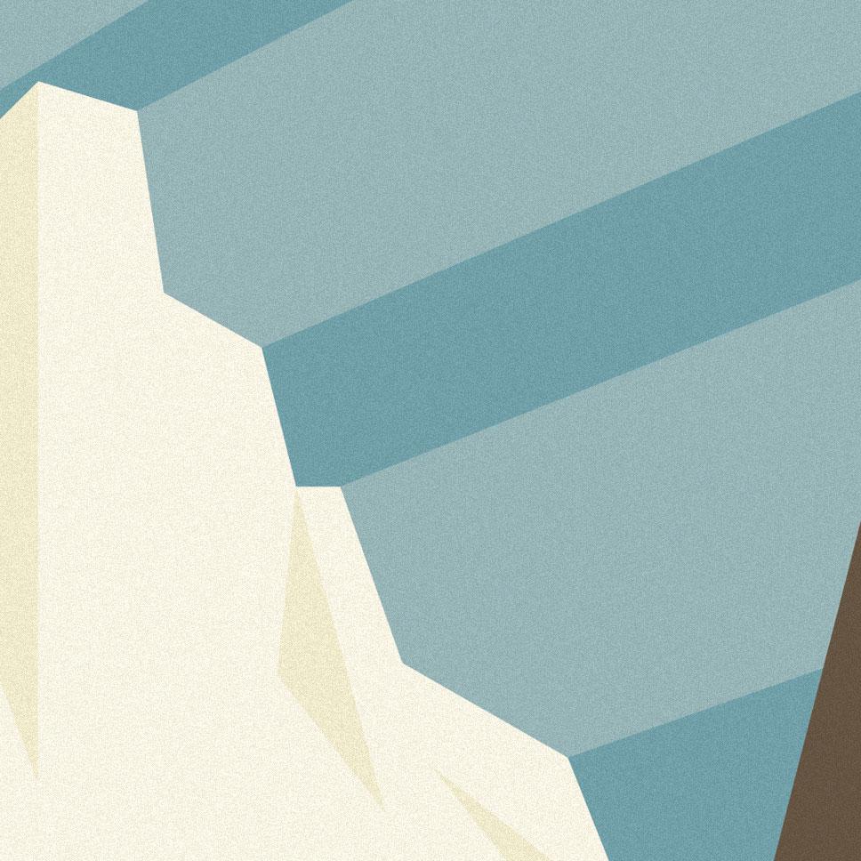Cervinia, particolare del monte Cervino stilizzato in forme estremamente semplici e leggere, con la luce a fenderne i contorni e ad allungarsi nel cielo azzurro