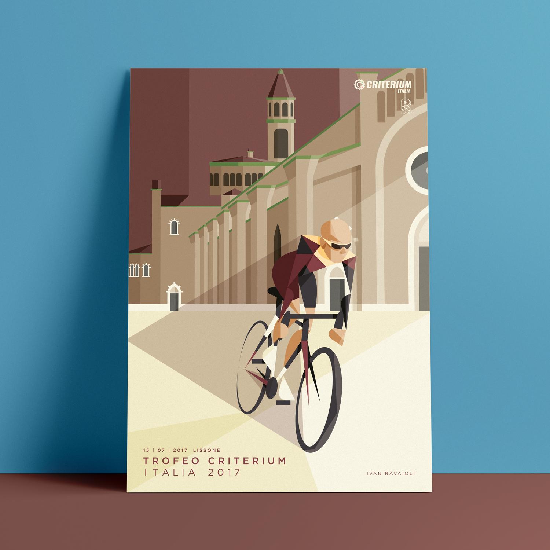 Lissone, il poster. Ivan Ravaioli spinge in avanti la bicicletta lasciandosi alle spalle la Cattedrale di Lissone e un cielo color vinaccia.