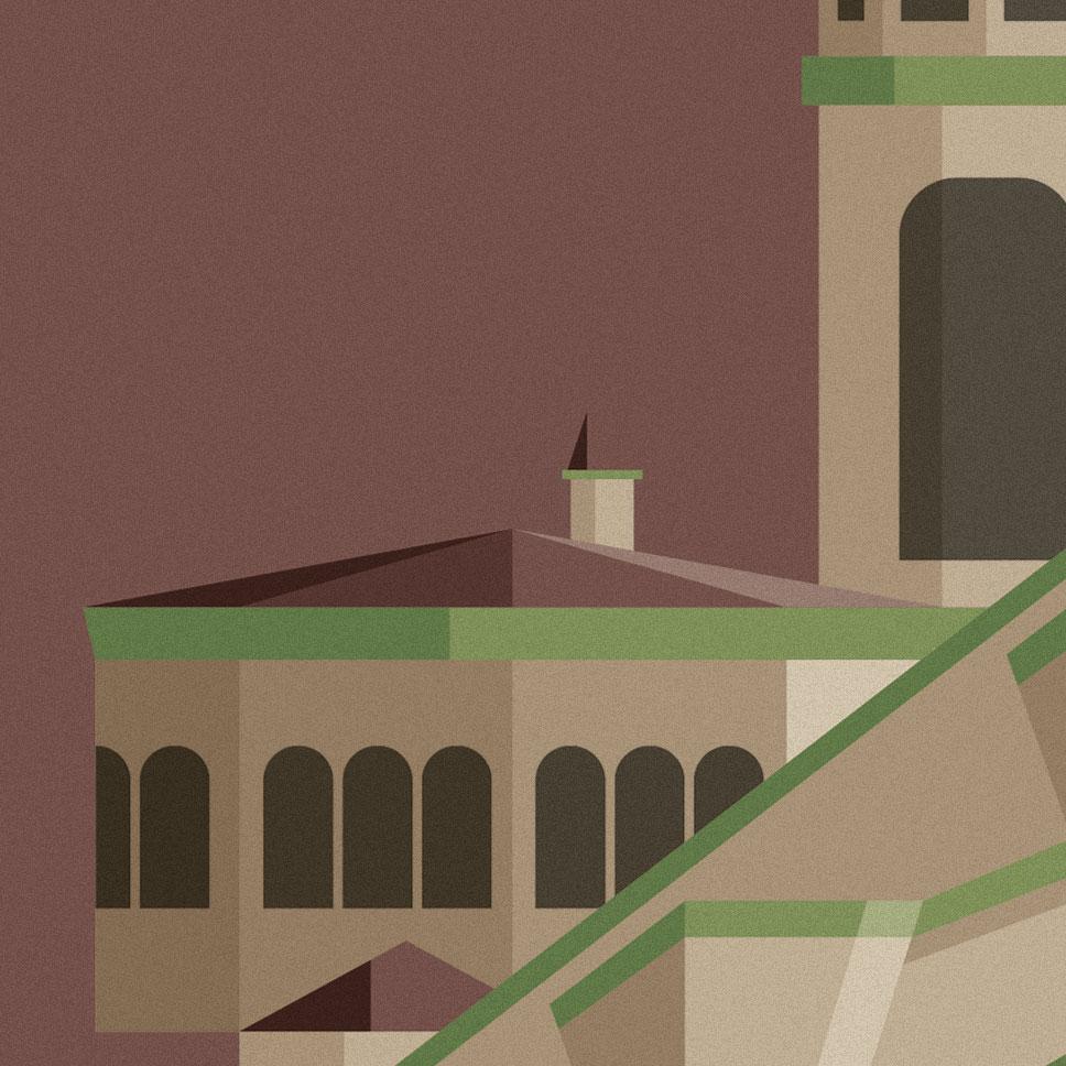 Lissone, particolare sulle guglie della cattedrale di inizio '900. Per rappresentare questa tappa è stato scelto un color vinaccia che contrasta col verde dei tetti.