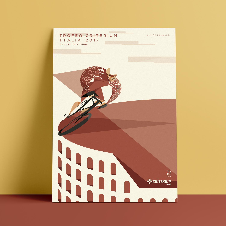 Roma, il poster. Alvise Zanasca pedala sul bordo di un Colosse stilizzato vestito della sua divisa rossa lasciando dietro di sua triangolare scia rossa.