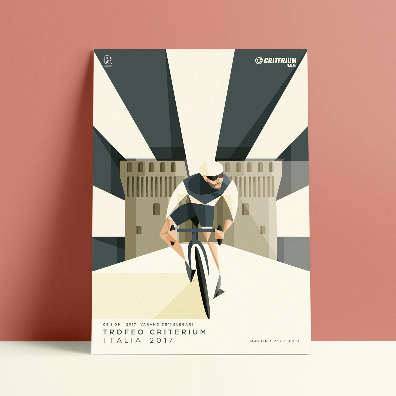 Varano de'Melegari, il poster. Linee bianche e blu, circondano il castello sullo sfondo mentre in primo piano Martino Poccianti pedala guardando verso il cielo.