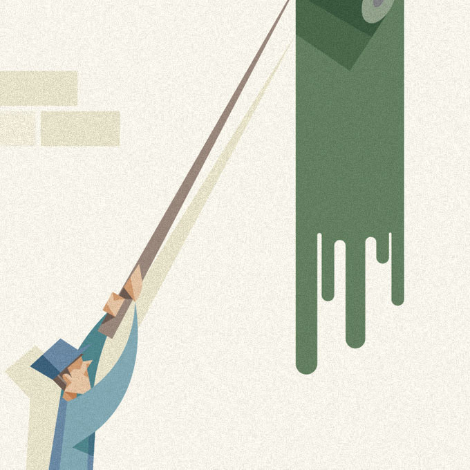 dettaglio di una delle illustrazioni, l'operaio vestito d'azzurro pittura di verde una parete con un rullo.