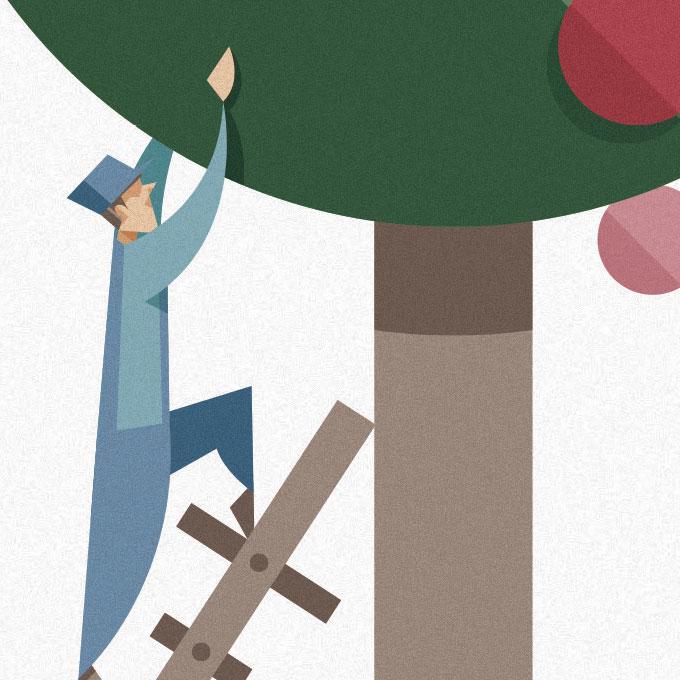 dettaglio di una delle illustrazioni, l'operaio vestito d'azzurro sale su un albero per raccogliere frutti colorati.