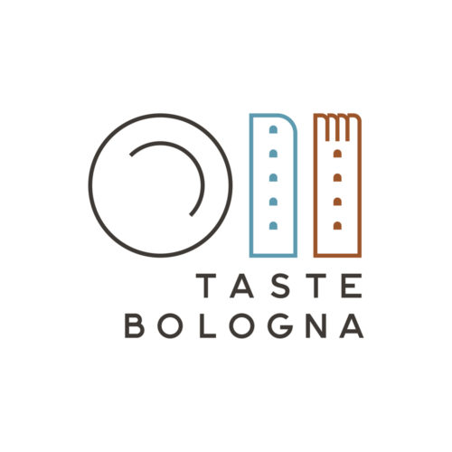 "Taste Bologna, the logo. Made to be young and classical at the same time, it shows the two towers stylized as a fork and a knife, a plate and the text ""Taste Bologna"" under them. Very clean and calm"