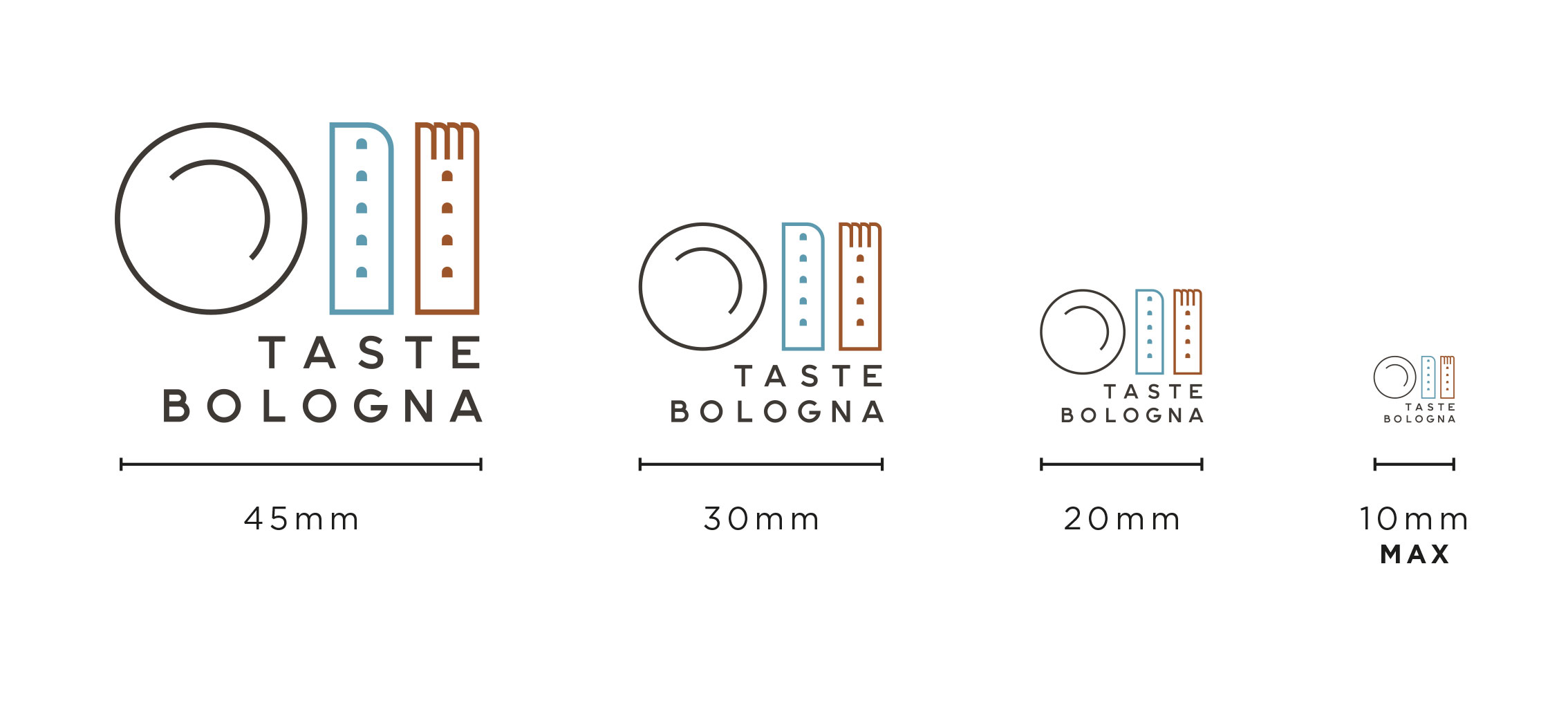 Different size of Taste Bologna logo, to explain which is the minimum size you can have for this logo (actually 10mm)
