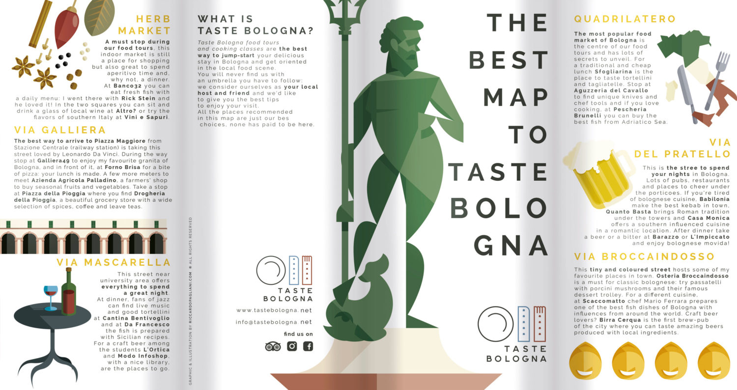 Bologna, map intro. The introduction to the map. A series of information about food streets and a rapid description of Taste Bologna on the back of the flyer. All surrounded by Bologna's illustrations