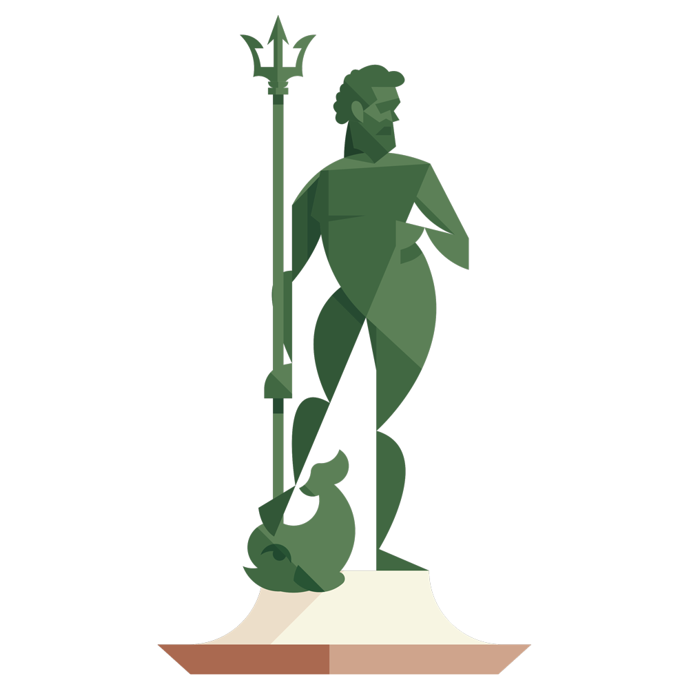 Poseidon, the statue symbol of Bologna is one of the main example of the map