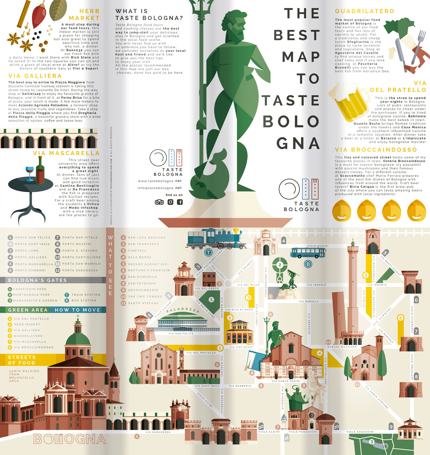Bologna, the complete map's flyer. The illustrated map of Bologna with all monuments and attractions from this amazing italian town. Very sinthetic and easy to read, base on five colours, with simplified street and quick informations.