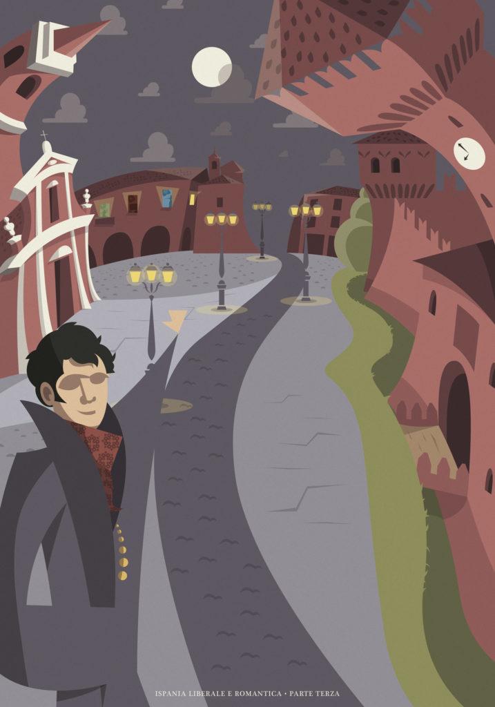 In un'immagine la magica notte di Formigine. Fernando ci indica la via verso la Sala Loggia, una splendida sala da concerto incastonata tra la chiesa e castello di questo piccolo e magico borgo, chiamato Formigine.