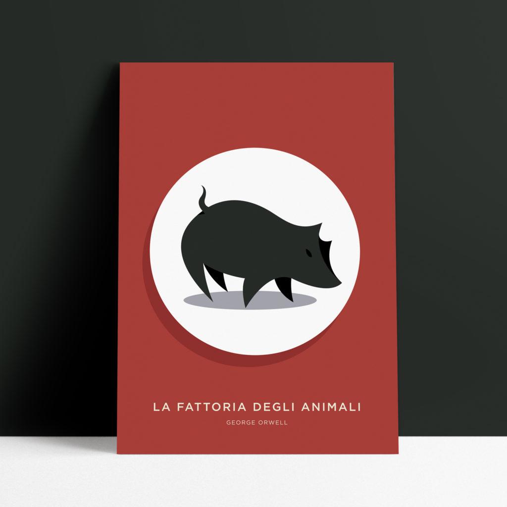 Fattoria degli Animali, George Orwell. Un maiale nero in un cerchio bianco, sullo sfondo un rosso intenso....vi ricorda qualche bandiera questa copertina?