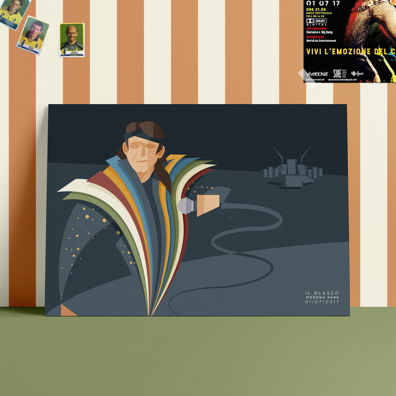 Il Blasco, il poster. Un giovane Vasco Rossi, con una mantella con sopra i colori di modena e dell'italia campeggia in primo piano impugnando il microfono nella notte del Modena Park. Sullo sfondo il palco montato per il maxi concerto.