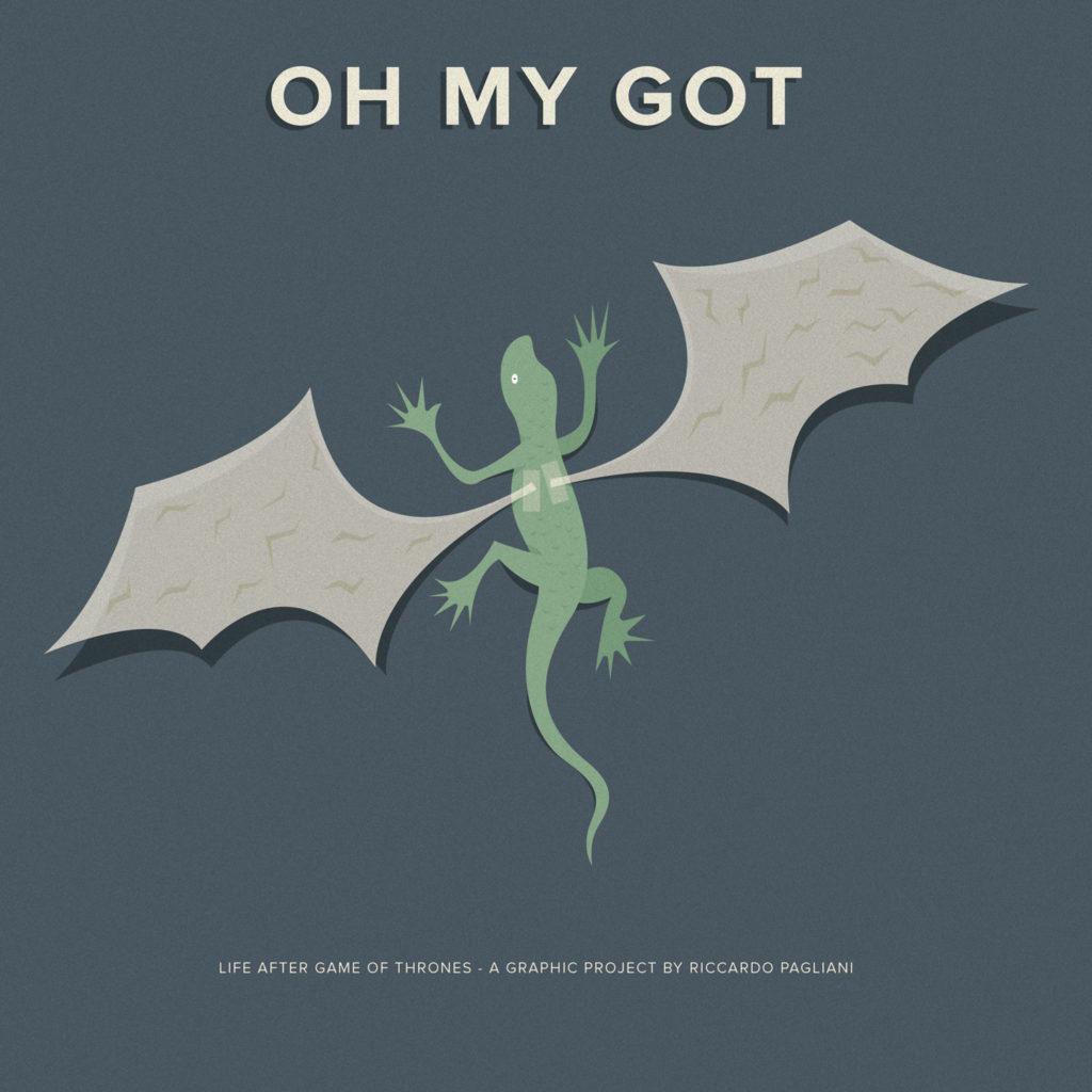 Oh my GOT, life after Game of Thrones: la copertina. Una lucertola a cui hanno attaccato splendide ali di carta da drago.