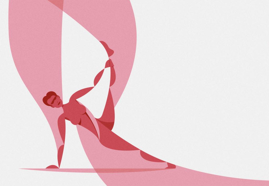 yoga is pink, la nona di una serie di posizioni yoga ispirate a foto di una mia amica. Un rapido esercizio anatomico condito da qualche onda geometrica!