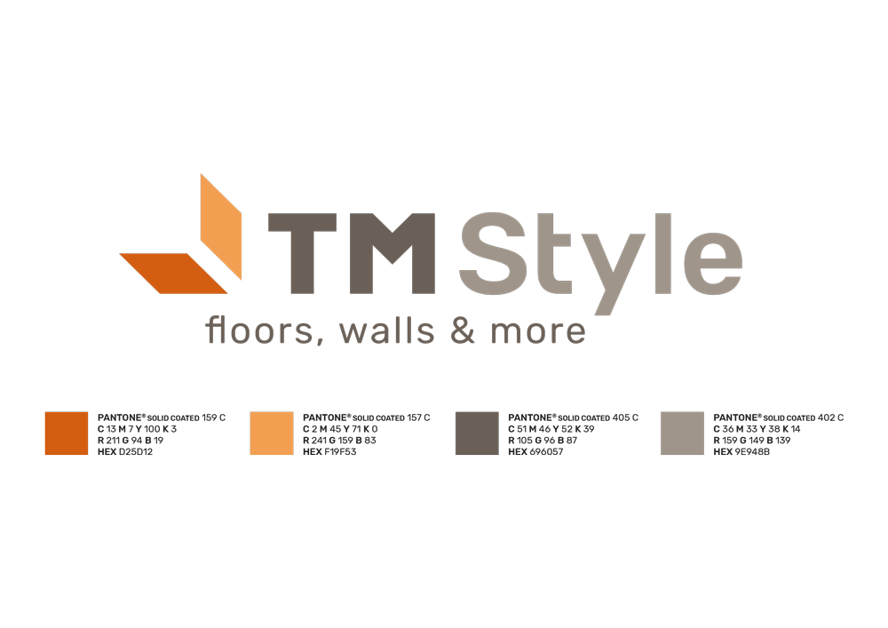 i colori del marchio, 4 pantoni a comporre il definitivo. Arancioni intenso e chiaro per i parallelogrammi, due grigi caldi per il resto del marchio.