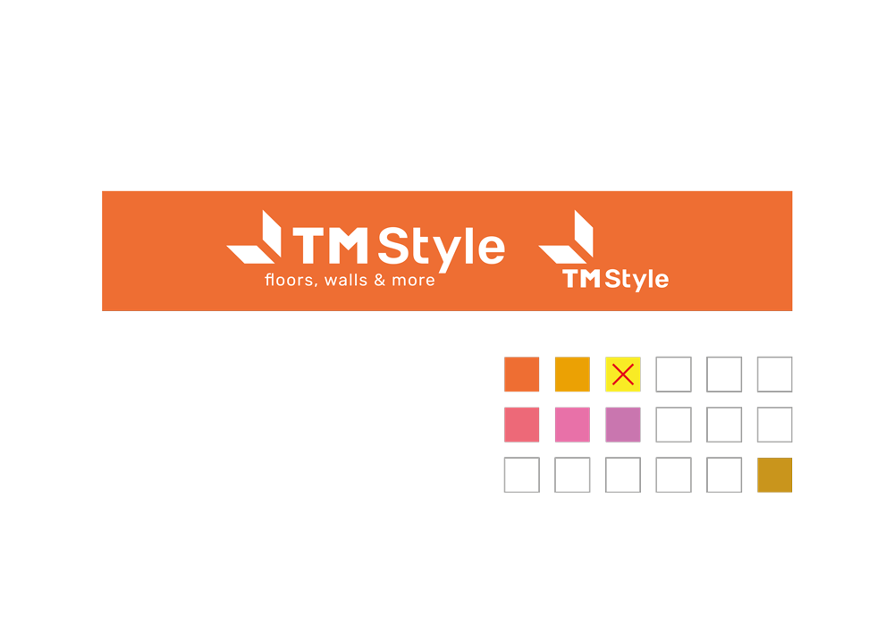 superfici di applicazione del marchio negativo, da applicare a tutte le superfici tra il rosso e l'arancio.