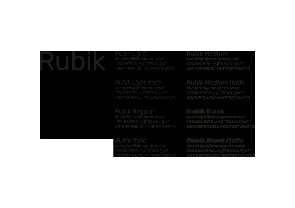 Rubik, il font scelto. Un Google Font molto poliedrico ed elegante, perfetto per attività collegate al mondo del design.