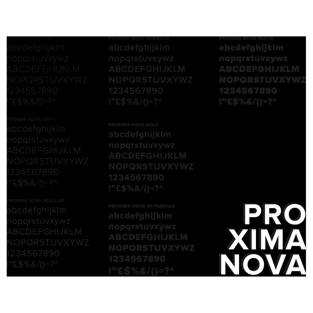Proxima nova è il font utilizzato per la headline del logo. Qui espongo l'intera famiglia del font, pensato come font di riferimento per la comunicazione coordinata del marchio.
