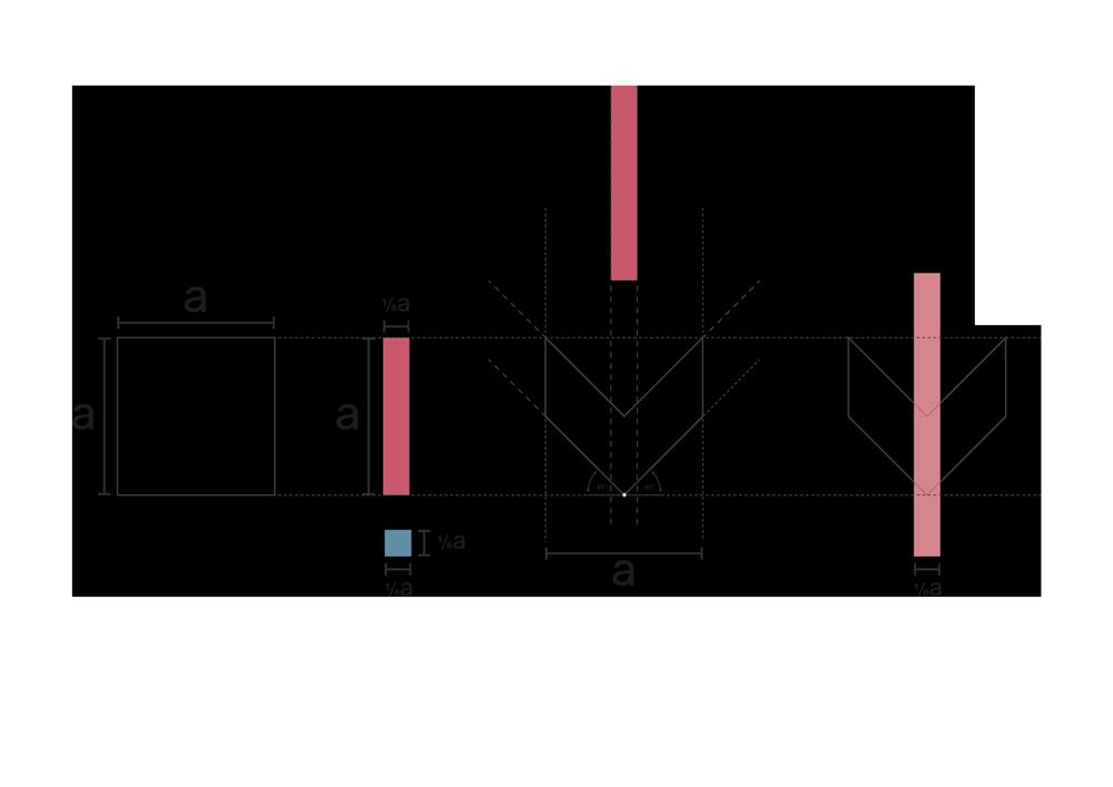 fase progettuale 1. Tutto parte da una figura quadrata che viene scomposta in due parallelepipedi inscritti nell'area della forma originale