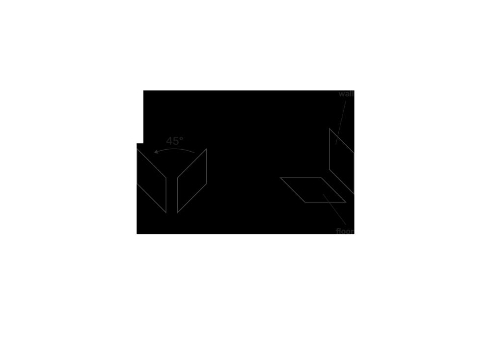 fase progettuale 2. I due parallelepipedi così costruiti vengono poi ruotati di 45° verso sinistra per andare a riprendere il concetto base dell'azienda: il parallelepipedo orizzonatale rappresenta il pavimento, quello verticale la parete.
