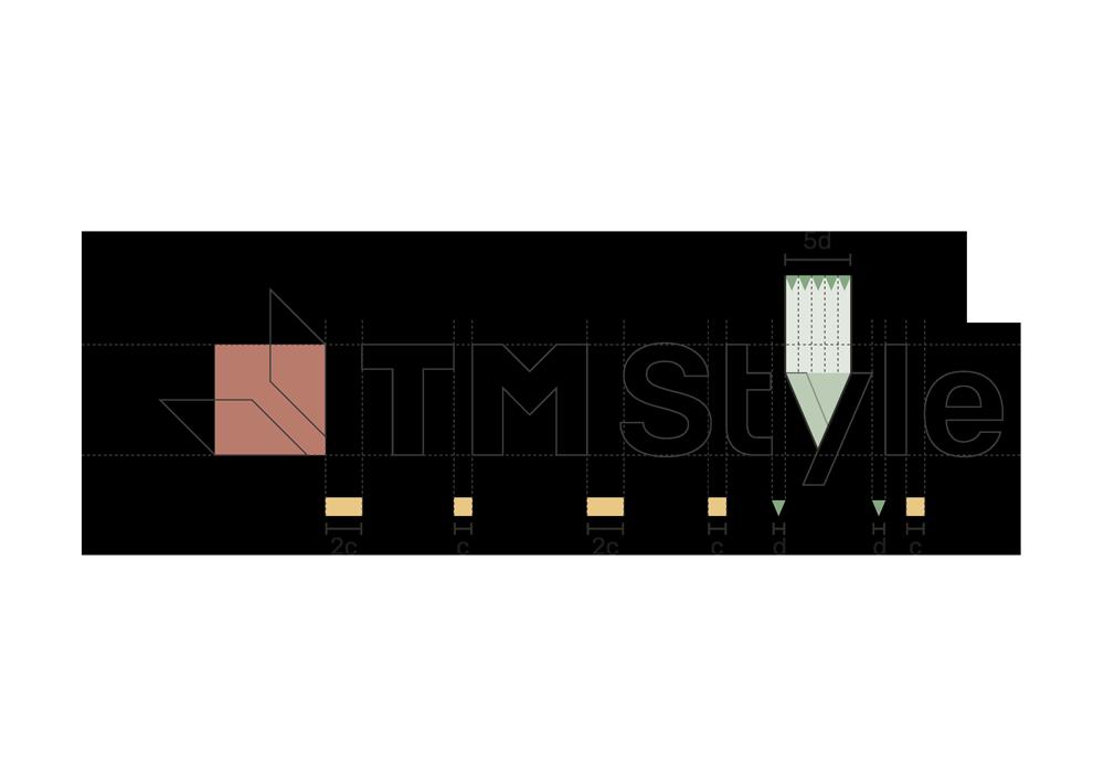 """fase progettuale 4. Sempre basandosi su queste forme si va poi a costruire l'intera parte testuale del logo, lo """"Style"""" finale"""