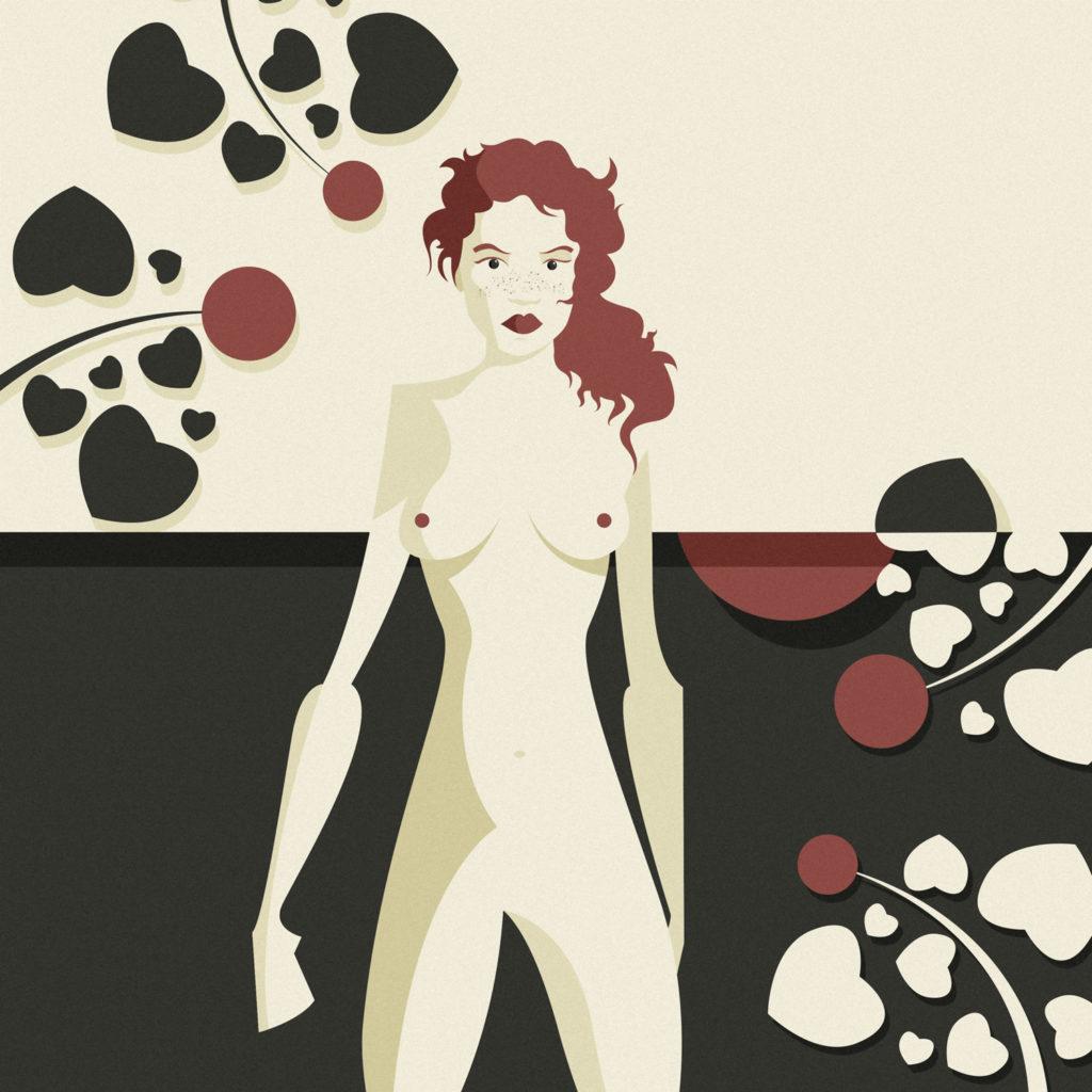 woman in black 4, una ragazzza nuda, con ricci capelli rossi, guarda severa di fronte a lei mentre in lontananza fiori rossi contornati da foglie a cuore la circondano. E la luna scompare al contrario nel cielo bianco.