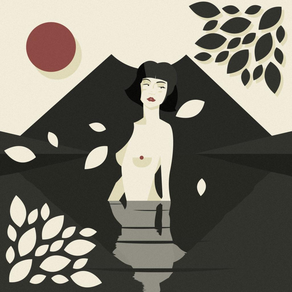 woman in black 6, una ragazza giapponese con capelli a caschetto compare nuda dal'acqua mentre in lontananza il monte Fuji le fa da sfondo e petali di pesco la circondano.
