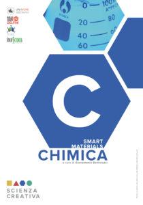 """pannello introduttivo di chimica, tanti esagoni azzurri affiancati e """"legati"""" tra loro a introdurre l'argomento dello stand: smart materials."""