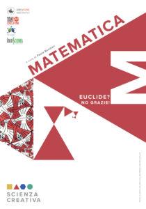 Pannello introduttivo di matematica, triangoli rossi creano una spirale che ricorda il mondo dei frattali. L'argomento della giornata sono state le geometrie non euclidee.