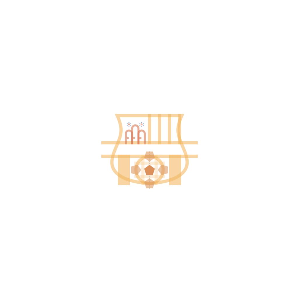sassuolo logo restyling, il pallone. Il pallone centrale nel mentre si svilupperà con un pentagono al centro avente altezza pari a un terzo del diametro della circonferenza. Oltre all'elemento centrale se ne svilupperanno altri 4 posti veritcalmente e orizzontalmente rispetto a questo elemento di partenza.