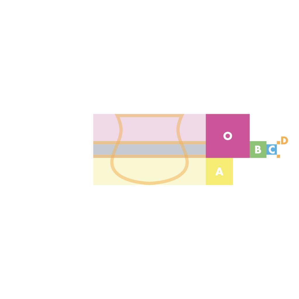 sassuolo logo restyling, primi passi. Lo scudetto originale è stato semplificato a forme basiche, eliminando i barbigli esterni e spostando la fascia centrale secondo le proporzioni della sezione aurea.