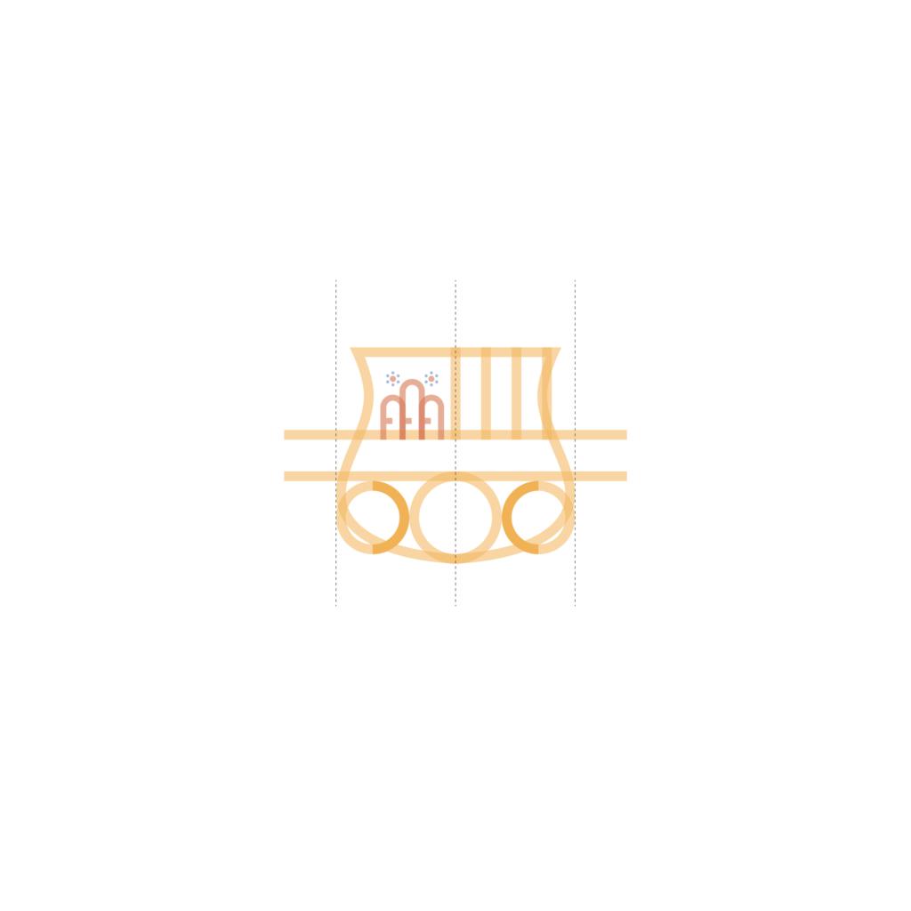 sassuolo logo restyling, le bande inferiori. La costruzione delle bande inferiori parte in realtà dallo sviluppo della circonferenza centrale che diventerà il pallone nella parte bassa del marchio. Fatto quello, lo spazio rimanente viene colmato da altre due circonferenze poi tagliate a metà, corrispondente dunque al raggio della circonferenza stessa. Questo rappresenterà lo spessore della banda inferiore e verrà equidistanziato tra il pallone e il bordo dello scudetto.