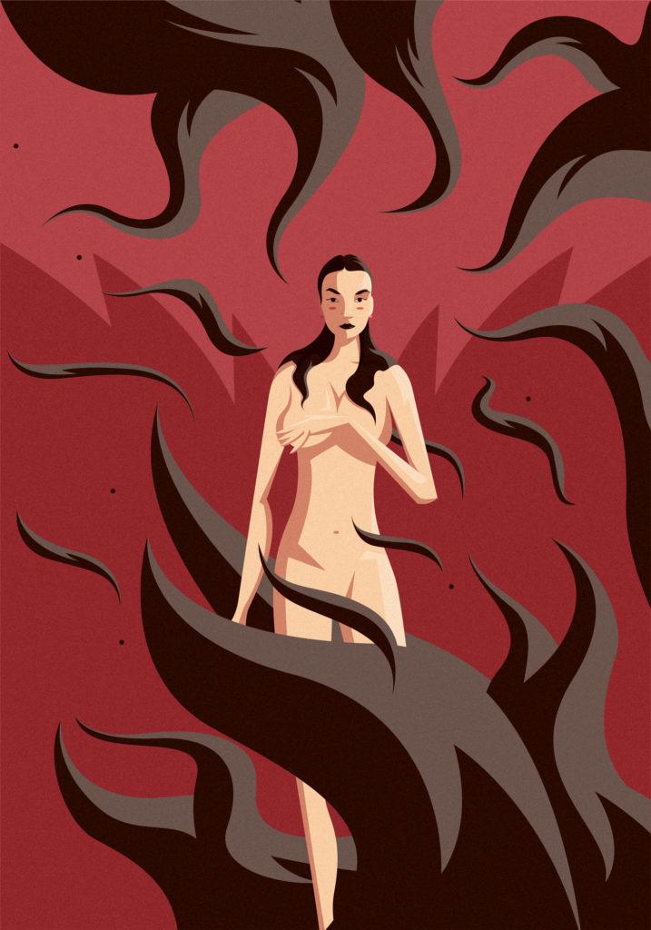 Una ragazza enigmatica e sfuggente, completamente nuda, lambita da fiamme brune che solcano tutta l'opera. Capelli morbidi, forme morbide, uno sguardo profondo e felino, un erotismo difficilmente arrivabile,