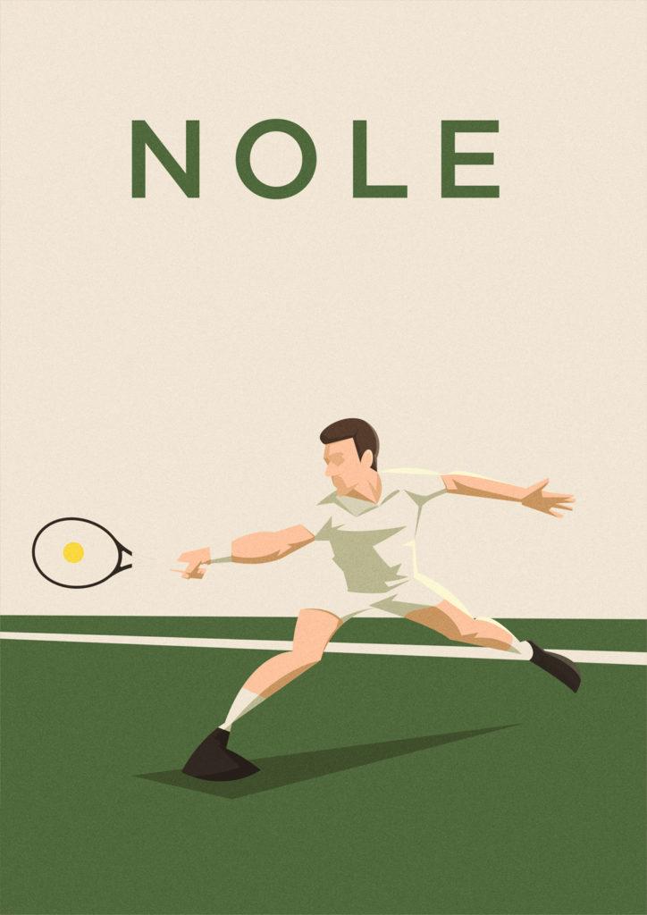 Novak Djokovic si slancia per prendere una pallina quasi irraggiungibile, ma non per lui