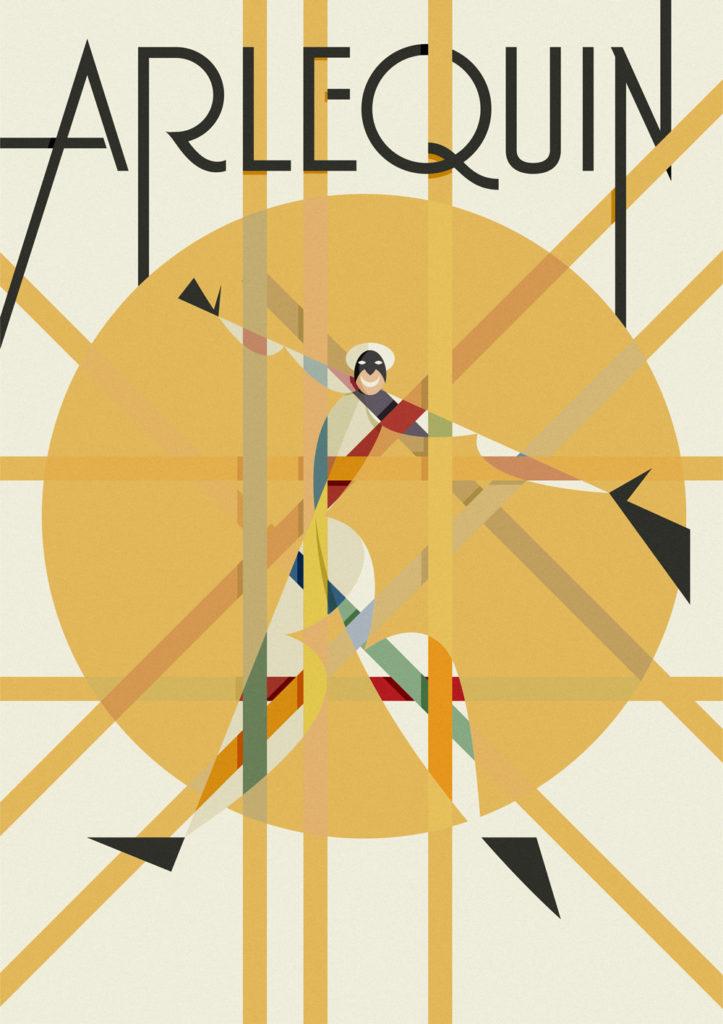 Il quadro di Arlecchino, una composizione geometrica creata attorno ad una circonferenza sottesa alla scritta Arlequin all'interno della quale spunta la tipa maschera solcata da linee colorata che vanno a comporsi formando intrecci cromatici con cerchio e quadro