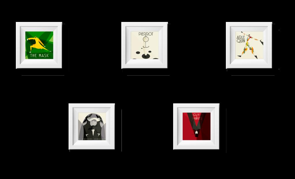 la composizione dei cinque ritratti creati per il progetto Masks.