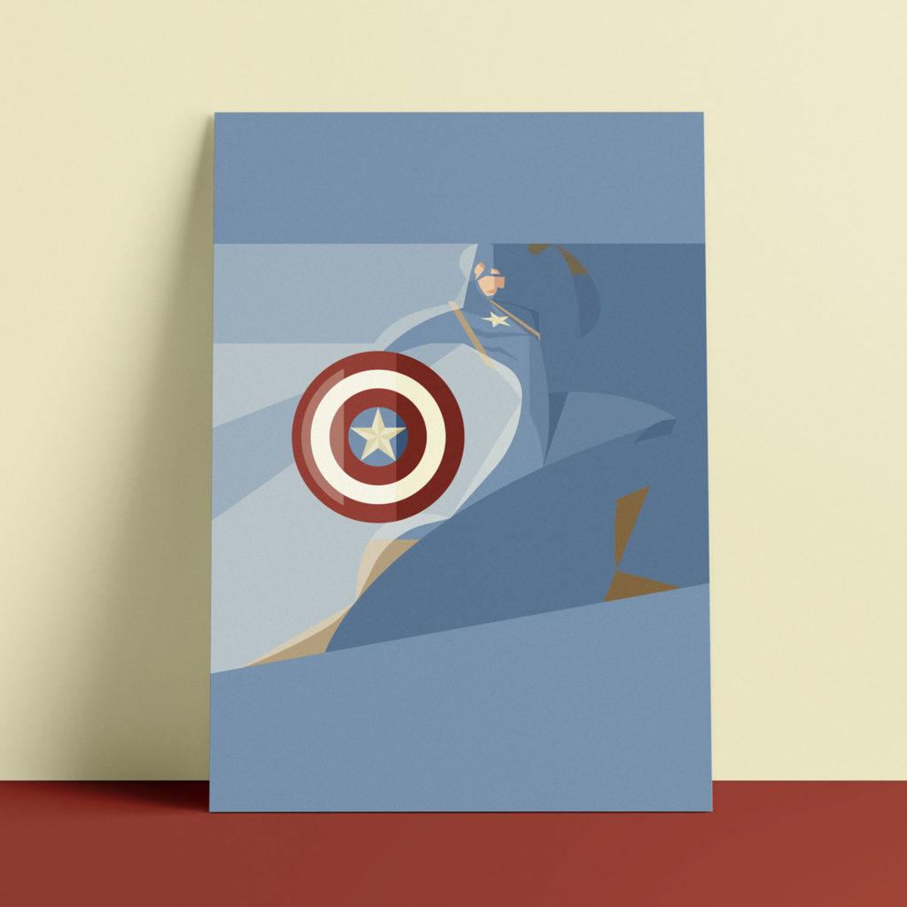 Captain America, the poster. L'eroe azzurro su sfondo azzurro, in primo piano il suo scudo a ricordare la bandiera americana