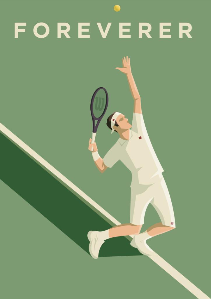 Foreverer, un poster celebrativo di Roger Federer mentre con la sua wilson si appresta a battere