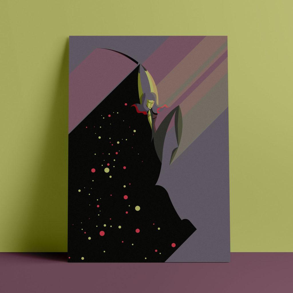 Gamora, the poster. L'eroina di Guardiani della Galassia con la spada in aria squarcia un cielo spaziale viola con la sua spada, nella sua ombra stelle verdi e fucsia si stagliano all'orizzonte