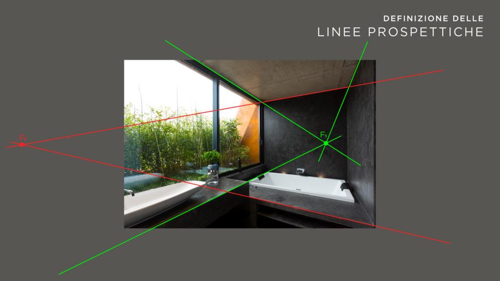 La realizzazione: i fuochi prospettici. Seguendo le linee dettate dall'immagine fotografica, si ricavano i fuochi prospettici che definiscono le forme e la visuale dell'immagine.