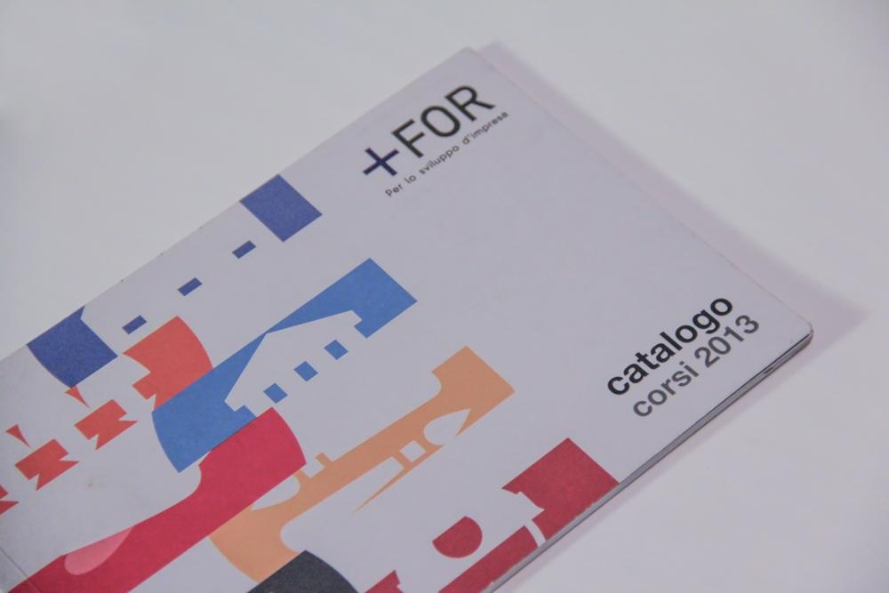 La copertina del catalogo, un rettangolo in cui il bianco la fa da padrone su cui compaiono a sinistra delle fasce strette recanti dettagli di quelle che saranno le categoria dei servizi di formazioni presenti all'interno del catalogo, mentre sul lato destro è in evidenza il logo For Plus.